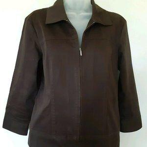 Geoffrey Beene Sport Women Brown Jacket Size M EUC